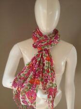 Vera Bradley LILLI BELL Fringe Scarf  Pink Green Orange White 26 x 62 EUC
