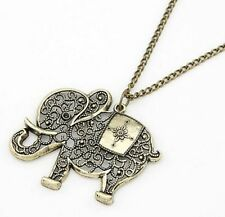 New Fashion Charm Hollow Elephants Pendant Sweater Chain Antique Bronze Necklace