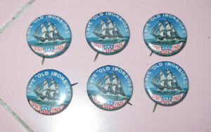 6 Vntg Save Old Ironsides Pins Buttons USS Constitution 1797-1925 3 Mast Frigate