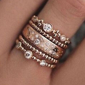 GENUINE CZ DESIGN ROSE GOLD 5 PIECE STACKING RING SET SIZE 60 - LIMITED QUANTITY