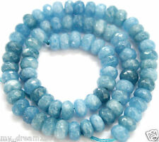 """5x8mm Faceted Natural Aquamarine Gemstones Loose Rondelle Beads 15"""" AAA"""