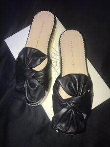 "Charlotte Olympia NIB Black Gold Leather Bow ""Poolside Sliders"" Flats 40/US 9.5"