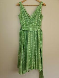 Grace Karin Size S Green Polka Dot Rockabilly Pinup Swing Dress