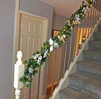 Pre Lit Silver Luxury Fireplace / Staircase Christmas Garland Warm White Lights