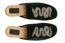 NEW GUCCI LUXURY GREEN VELVET CRYSTALS BEADED SNAKE SLIPPER FLAT SHOES 37/US 7