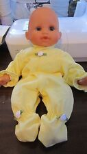 """Yellow Cotton Jersey Knit Footie Jammies fits 12"""" Corolle Tidoo, 13"""" LM baby"""