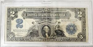 1899 Two Dollar $2 Silver Certificate Speelman White Blue Seal Currency Note