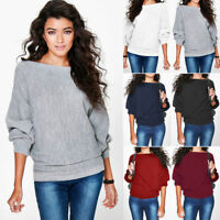 Womens Knitted Sweater Batwing Sleeve Blouses Jumper Loose Casual Solid Tops