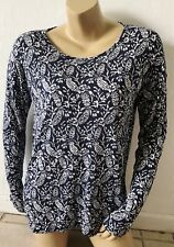 OLD NAVY Womens Size Medium Blue White Floral Print Long Sleeve 100% Modal Shirt
