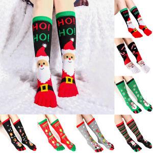 10 Styles Christmas LOng Stockings Five-Finger Socks Sweat-absorbent Toe Socks