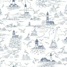 Nautical Fabric - Lightkeeper's Quilt Lighthouse Sailboat White - Studio E YARD