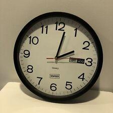 Clock Staples 12.5'' Round Quartz WORKS Office Supply School Bedroom Black