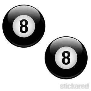 2 x 8 BALL CAR BIKE WINDOW STICKER / DECAL LUCKY POOL BILLIARDS 100mm x 100mm