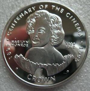 Gibraltar Crown 1996 Silver Proof Coin Centenary of the Cinema Marilyn Monroe