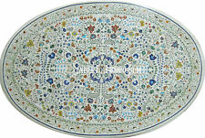 """30"""" White Marble Coffee Round Table Top Marquetry Inlay Micro Mosaic Home Decor"""
