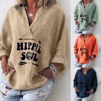 Women Long Sleeve Cotton Linen Kaftan Ladies Baggy Blouse Tee T Shirt Tops S-5XL