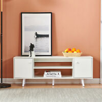 Modern TV Stand Console Table w/ Cabinets Shelf Storage Living Room 2doors White