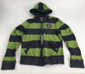Abercrombie Kids Full Zip Rugby Striped Hoodie Sweatshirt Boys Large