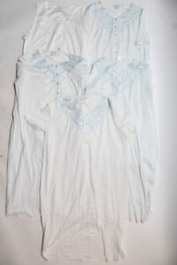 Hanro of Switzerland Womens Cotton Button Up Night Gowns White Size Large Lot 5