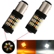 1 Pair 1157 4014 LED Dual Color White & Amber Switchback Turn Signal Light Bulbs