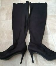 New Look , ladies long black suede boots, size 8