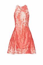 Josie Natori Pink Crinkle Jacquard Women Dress Size 12 V-Neck Sheath $1900- #673