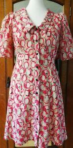 Pretty Pink/White BIBA Barbara Hulanicki dress size 12 Puffed Sleeve