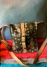 Patricia Nash Venezia Black & Beige Floral Italian Leather Flap Snap Crossbody