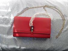 RED Leatherette Evening Bag Clutch Purse Designer Inspired Lipstick Decor