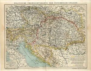 1902 AUSTRIA-HUNGARY MONARCHY POLITICAL CZECH UKRAINE BOSNIA CROATIA Map dated