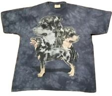 VINTAGE The Mountain Dog Rottweiler T-Shirt Men's XL Blue Tie Dye All Over ~RARE