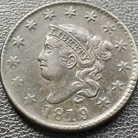 1819 Large Cent Coronet Head One Cent 1c High Grade XF - AU #22633