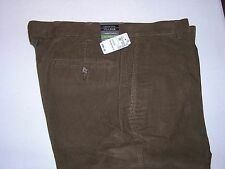 $99.50 New Jos A Bank Tailored Fit cotton plain front corduroy Brown 36 W x 32