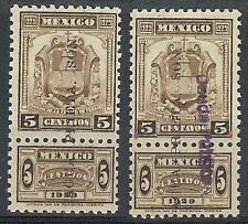 Mexico 1929 Revenue 5c overprints: weak & inverted  Agua Prieta 2 stamps MNH