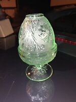 Tiara by Indiana Glass Fairy Candle Lamp, Sandwich pattern, Chantilly Green