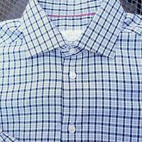 ETON MENS GRAY BLUE CHECK PLAID  BUTTON FRONT SLIM FIT DRESS SHIRT 41 US 16