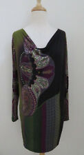 ETRO Paisley print jersey shift dress sz 42 Draped neck