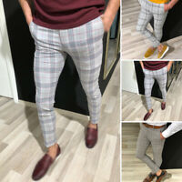 Men's Plaid Slim Fit Pencil Pants Zipper Skinny Trousers Office Business Bottoms