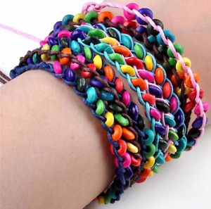 Friendship Bracelets Rainbow Beads Pride Boho Festival Party Bag Anklet Gift UK