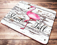 Pink FLAMINGO Mouse Pad Inspirational Quote Shabby Chic Design Desk Accessories