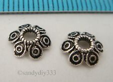 4x BALI OXIDIZED STERLING SILVER FLOWER SPACER BEAD CAP 7.6mm #2468