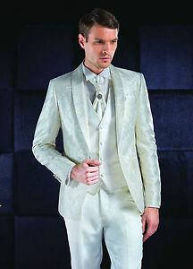 QUALITÄTS Hochzeitsanzug Miteksan slimline hell weiss & Ivory weiss  9 teilig!