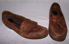 Men's size 11 5595 ROCKPORT Brown Leather Slip On Boat Shoes Tassels