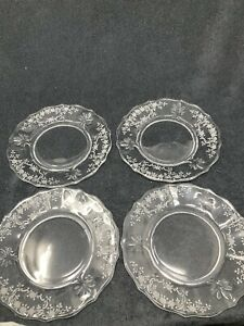 Salad Plate (Baroque Shape) Meadow Rose Clear by FOSTORIA