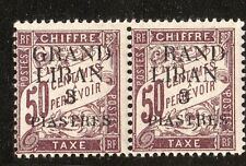 "LEBANON 1924 POSTAGE DUE ""G"" OF ""GRANDE"" OMITTED W/TRACE OF OVP IN PAIR W/NORMAL"