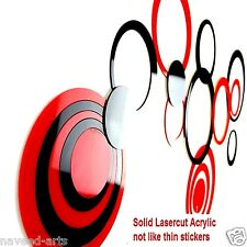 Acrylic wall stickers Circle Small- Red & Black - 10+3 (Free) Pieces - JB019S2BR