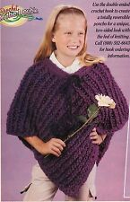 WARM Girl's Crochet on the Double Poncho/Crochet Pattern INSTRUCTIONS ONLY