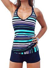 AU Womens Sporty Tankini sets with Boy Shorts Beach Swimwear Two Piece Swimsuits