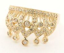 14K yellow gold elegant 0.76CT diamond cluster crown ring size 7.5