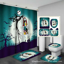 The Nightmare Before Christmas Shower Curtain Non-Slip Mat Toilet Lid Cover 4PCS